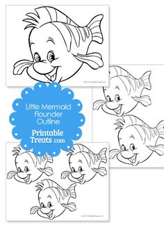 Printable Little Mermaid Flounder Template from PrintableTreats.com