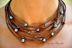 Pearl and Leather Necklace Multi-Strand Necklace with   Etsy
