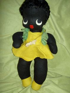 Irresistible, 1930s, large black felt,  jointed African American baby girl doll #Unbranded #DollswithClothingAccessories