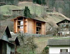 """Peter Zumthor, Haus Luzi in the village of Jenaz, Switzerland.  """"earnestly examines the location and purpose of a building and spares no effort in selecting the most suitable materials for it,"""""""