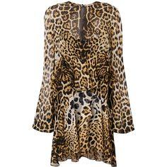 Saint Laurent leopard print shift dress (€1.915) ❤ liked on Polyvore featuring dresses, black, shift dress, silk dress, flared skirts, long sleeve day dresses and long sleeve dress