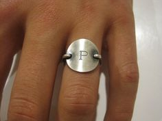 """Sterling silver Monogram inital Ring by SoShe on Etsy  Choose: """"A"""" for top, and baby's Birthdate for underneath/back. Would like for middle finger"""