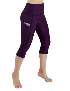 ODODOS High Waist Out Pocket Yoga Capris Pants Tummy Control Workout Running 4 Way Stretch Yoga Capris Leggings,DeepPurple,Medium Running Leggings, Tight Leggings, Yoga Leggings, Black Leggings, Leggings Are Not Pants, Workout Capris, Yoga Capris, Workout Leggings, Yoga Pants