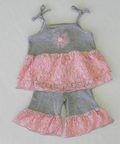 Love this Gray  Light Pink Ruffle Tunic  Pants - Infant, Toddler  Girls by Kash Ten on #zulily! #zulilyfinds