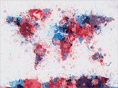 Carte de projections de peinture de la carte du monde par artPause