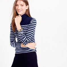 "The turtleneck gets our vote for sweater silhouette of the season. This supersoft one is finished with flattering placed stripes for a bit of extra <i>je ne sais quoi</i>. <ul><li>Slim fit.</li><li>Body length: 24"".</li><li>Cotton.</li><li>Long sleeves.</li><li>Machine wash.</li><li>Import.</li></ul>"