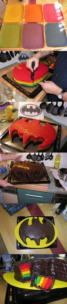 Rainbow Batman Cake