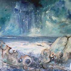 Ogmore Rocks reworked recently, mixed media on canvas 100x100 cm.