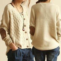 Retro Patch Sweater Cardigan Sweater