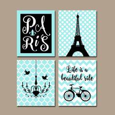 PARIS Wall Art, CANVAS or Prints Eiffel Tower Artwork, Aqua Black Girl Nursery Wall Art, Girl Bedroom Pictures, Set of 4 Chandelier Bicycle by TRMdesign on Etsy https://www.etsy.com/listing/205234368/paris-wall-art-canvas-or-prints-eiffel