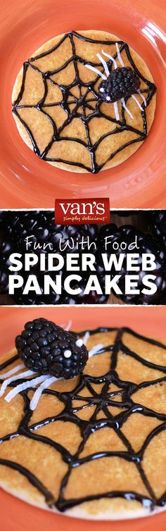 An itsy bitsy breakfast idea in the spirit of Halloween! Top your pancakes with a frosting web and a blackberry spider!