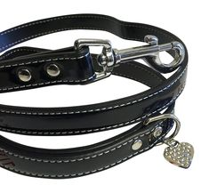 Impawsters 4ft. Black Patent Leather Lead Leash with Rhinestone Heart Charm * You can find more details by visiting the image link. (Amazon affiliate link)