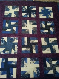 Windmills (at night) Purple and Blue with White Quilt made by Jaded Spade Creations https://www.jadedspadecreations.com