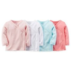 carter's® 4-Pack Side Snap Pointelle Long Sleeve T-Shirts in Pink/White/Aqua