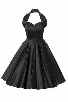 Vivien of Holloway - 1950s Retro halter Back Satin swing dress