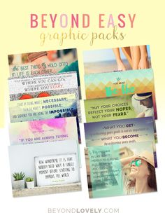 Stay in front of your audience with great visual content! BEYOND EASY GRAPHIC PACKS look great and get more engagement. Download a FREE sample pack! www.beyondlovely.com/beyond-easy-graphic-packs