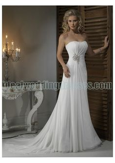 Chiffon Strapless Dipped Neckline with Rouched Bodice in Slim Sheath Skirt 2011 Hot Sell Informal Wedding Dress WM-0442