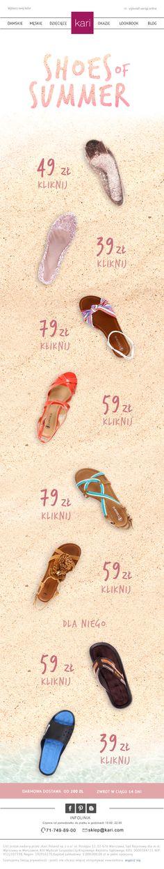 Letni newsletter sklepu Kari #sandaly #butynalato #shoesof summer #kari #sklepkari #karipoland #newsletter