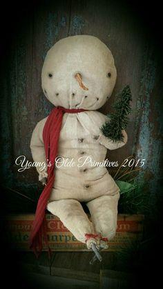 Primitive Rag Stuffed Snowman Doll Winter Christmas #NaivePrimitive