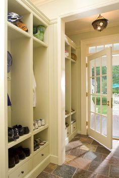 Slate Floor with white Built-in Locker