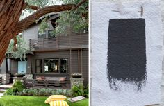 Best Exterior Gray Outdoor House Paint Color, Benjamin Moore Iron Mountain, a dark gray with a rich brown undertone.