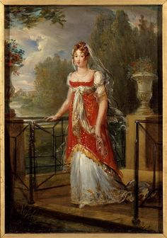 La reine Caroline 1807-  A good example of the overdress that was popular during this decade.