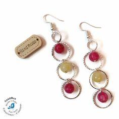 Boucles d'oreilles argentées perles minérales pierres naturelles anneaux ciselés perles à facettes jaunes roses fuchsias