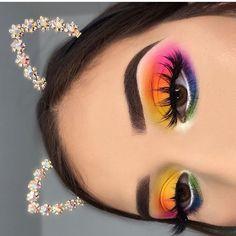 Makeup / makeup looks / rainbow makeup / eye makeup / cat ears / eyebrows on fleek / colorful eye makeup / makeup inspiration Makeup Eye Looks, Eye Makeup Art, Glam Makeup, Pretty Makeup, Eyeshadow Makeup, Makeup Inspo, Eyeliner, Makeup Ideas, Bright Eyeshadow