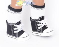 """Cons Canvas Lace-Up Sneakers Boots Doll Shoes Black for 18"""" American Girl dolls"""