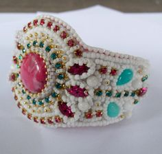 Bead Embroidery Bracelet   OOAK  Summer colors   Seed by Vicus, $125.00