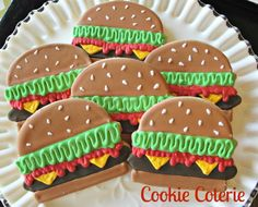 Hamburger Barbecue Picnic Themed Decorated Cookies Birthday Party Cookie Favors One Dozen via Etsy