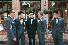 Try dressing the groomsmen in a different colored suit than the groom. The grey and black look great together! DIY Los Angeles Wedding from Perpixel Photography Groomsmen Grey, Groom And Groomsmen Attire, Groomsmen Suits, Groom Tux, Wedding Looks, Dream Wedding, Wedding Officiant, Flower Bouquet Wedding, Bridal Bouquets