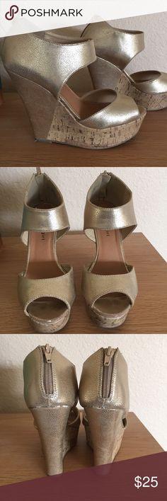 "Madden Girl Gold Wedge Platform Madden Girl Women Willard Gold Wedge Cork Platform Sandal w Back Zipper. 5"" wedge heel with 1-1/2"" platform. Only worn a handful of times. In excellent condition. Madden Girl Shoes Platforms"
