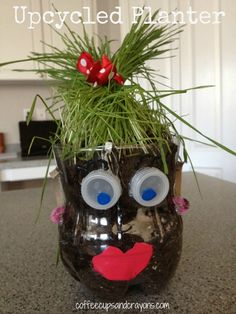 """Upcycled Planter Craft from Soda Bottles...cutting the """"hair"""" is so much fun!"""