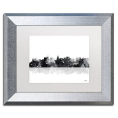 "Trademark Art ""Madison Wisconsin Skyline BG-1"" by Marlene Watson Matted Framed Graphic Art Size: 11"" H x 14"" W x 0.5"" D, Frame Color: Silver"