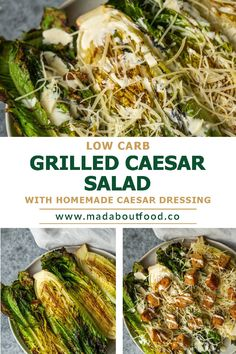 A grilled Caesar salad is the perfect summer lunch. This one has homemade dressing and a light, lemony vinaigrette that will make your taste buds sing! If you're looking for a way to spice up your summertime salad routine, look no further! This Grilled Caesar Salad recipe is the perfect dish to enjoy while watching the sunset or on a family picnic. The homemade dressing is made with anchovy, garlic and lemon juice which adds an extra flavor component that's sure not disappoint. Summertime Salads, Easy Summer Salads, Summer Salad Recipes, Grilled Caesar Salad Recipe, Grilled Romaine, Homemade Dressing, Family Picnic, Food For A Crowd, Taste Buds