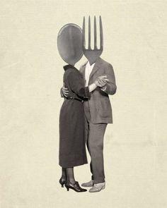 Kitchen Art - Slow Dancing Utensils - Spoon Fork - Kitchen Art Print - Wood Block Print - On My Block Photomontage, Collages, Art Du Collage, Collage Ideas, Plakat Design, Kitchen Art, Kitchen Tools, Kitchen Interior, Kitchen Design