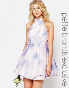 Chi Chi Petite | Chi-Chi London Petite High Neck Organza Mini Prom Dress In Water Floral Print at ASOS