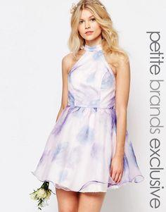 Chi Chi Petite | Chi-Chi London Petite High Neck Organza Mini Prom Dress In Water Floral Print at ASOS