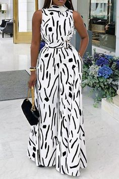 Abstract Print Sleeveless Wide Leg Jumpsuit - How To Be Trendy African Wear Dresses, Latest African Fashion Dresses, African Print Fashion, African Attire, African Women Fashion, Classy Dress, Classy Outfits, Chic Outfits, Dress Outfits