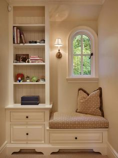 ~ cozy nook with book shelves and window seat Teenage Girl Bedroom Decor, Girls Bedroom, Bedroom Ideas, Trendy Bedroom, Bedroom Alcove, Eclectic Bedrooms, Cozy Nook, Cozy Corner, My New Room