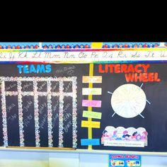 My homemade classroom literacy team chart and center wheel. Teams can change as often as you'd like. Team names are written on clothes pins, which are rotated around the wheel for the class to find their center! Easy to do to make your whole classroom a learning tool, and fun for kids too!