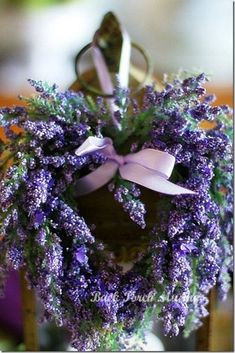 Heart shaped Wreath of Lavender with a Purple bow, so pretty.