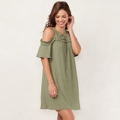 6529cc8a788 Women s LC Lauren Conrad Ruffle Cold-Shoulder Dress Lc Lauren Conrad