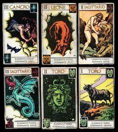 Sammelbilder Tarotkarten mit Motiven aus Tarot Astrologique Muchery Astrological