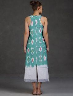 Sea Green-White Racer Back Ikat Cotton Dress Simple Dresses, Casual Dresses, Fashion Dresses, Casual Frocks, Cotton Dresses Online, Dress Online, Kurta Designs, Blouse Designs, Cotton Long Dress