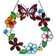 A little color for her window - butterfly and flowers on a stained glass wreath