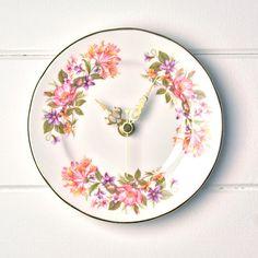 Vintage Honeysuckle Colclough English bone china Tea plate wall clock by LaviniasTeaParty, £25.00