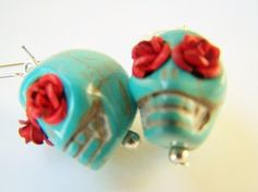 Day of the Dead Earrings, Turquoise Skulls with Red Roses, Calavera Earrings, Dia de Los Muertos Sugar Skull Jewelry - Calaveras