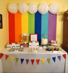 Cool backdrop at a rainbow birthday party! Cool backdrop at a rainbow birthday party! Trolls Birthday Party, Unicorn Birthday Parties, First Birthday Parties, Birthday Party Themes, First Birthdays, Birthday Ideas, Rainbow First Birthday, Rainbow Unicorn Party, Rainbow Theme